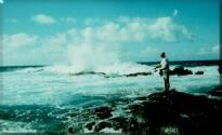 Photo - Molokai, Hawaii - Fisherman in the surf