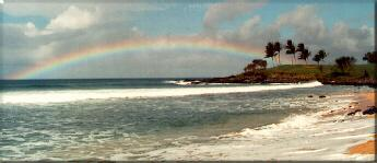 Photo - Molokai, Hawaii - Rainbow over the ocean and kaluakoi golf course